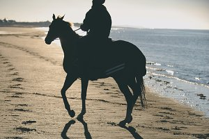 Horse & rider silhouette on beach