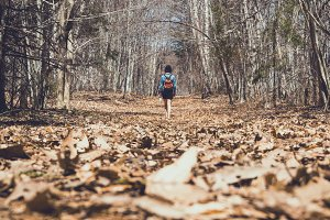 Woman autumn / fall walk in forest