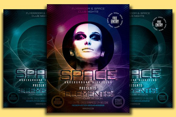 Space Club Flyer Template Flyer Templates on Creative Market – Club Flyer