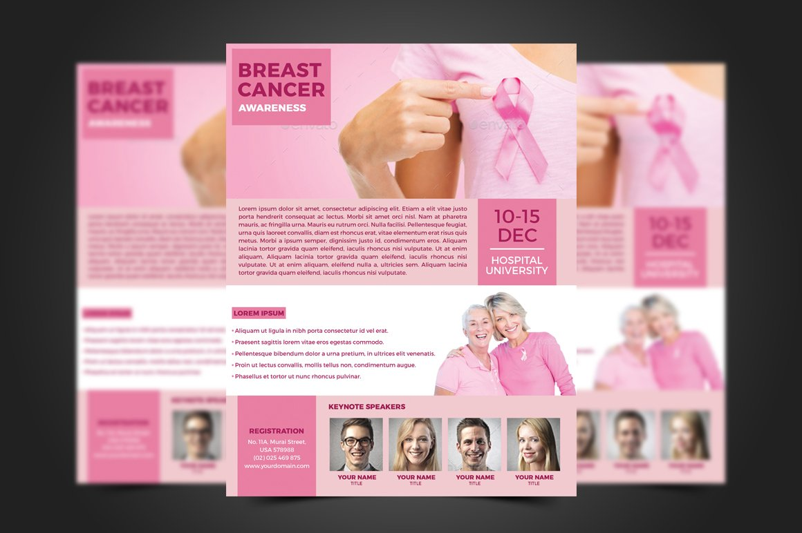 Breast cancer flyer template flyer templates creative for Breast cancer brochure template free