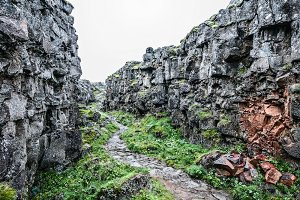 Icelandic trail in rocky canyon
