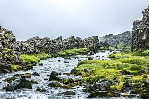Iceland landscape with river