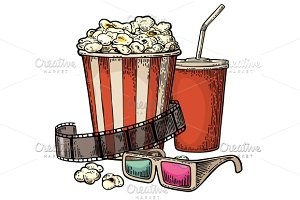 Popcorn Cola 3D glasses for cinema