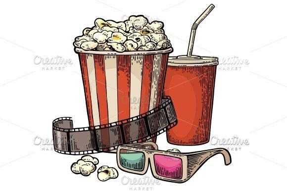Popcorn Cola 3D Glasses For Cinema Illustrations