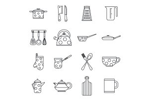 Kitchen tools and utensils icons