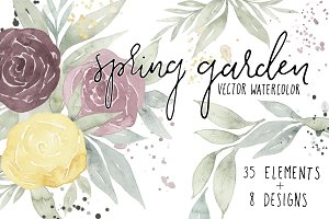 Spring Garden Floral Watercolor