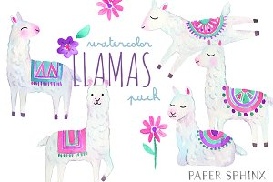 Watercolor Llamas Art Pack