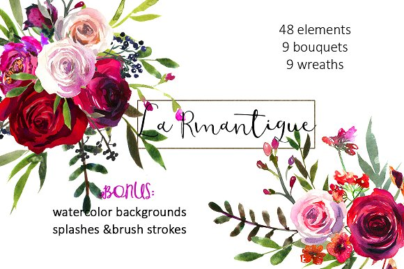Burgundy Red Pink Flowers Clipart Ilrations