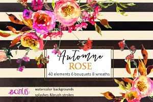 Pink Watercolor Florals Clipart