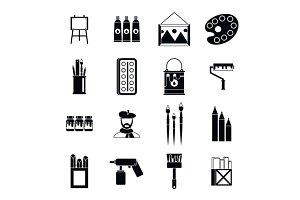 Painting icons set, simple style
