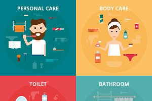 Man and woman hygiene icons vector