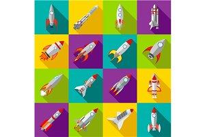 Space rocket icons set, flat style