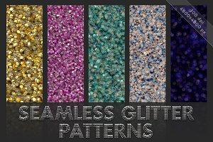 Glitter patterns. Seamless textures