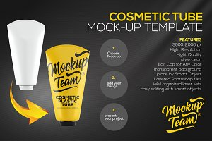 Cosmetic Tube 2 Mock-up Template