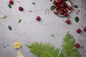 Ripe red cherries