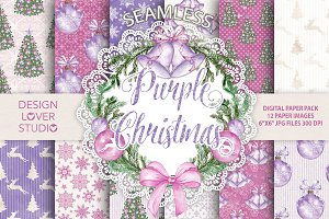 """Watercolor """"Purple Christmas"""" papers"""