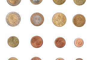 Euro coins isolated