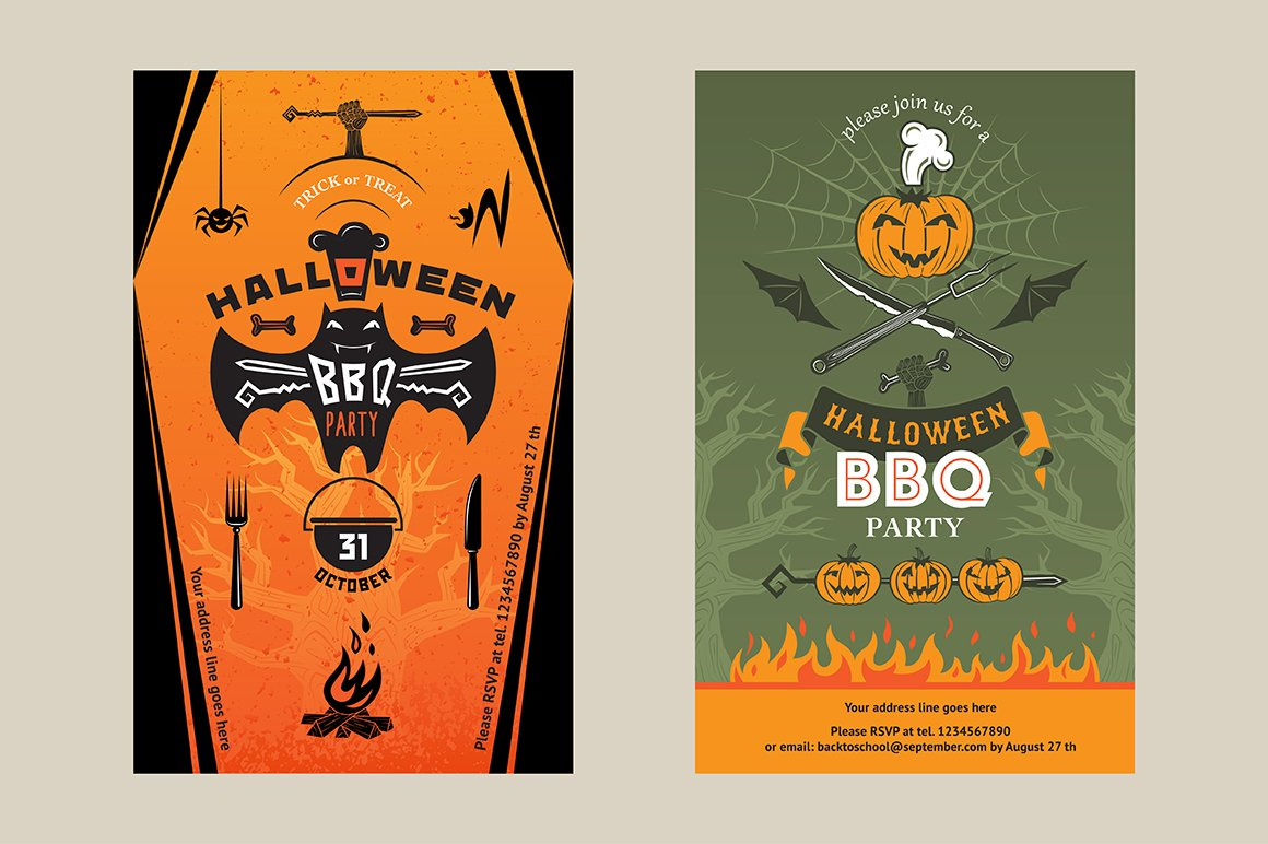 Halloween bbq party invitation card illustrations creative market stopboris Images