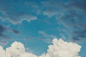 Dramatic cumulus clouds in the sky.
