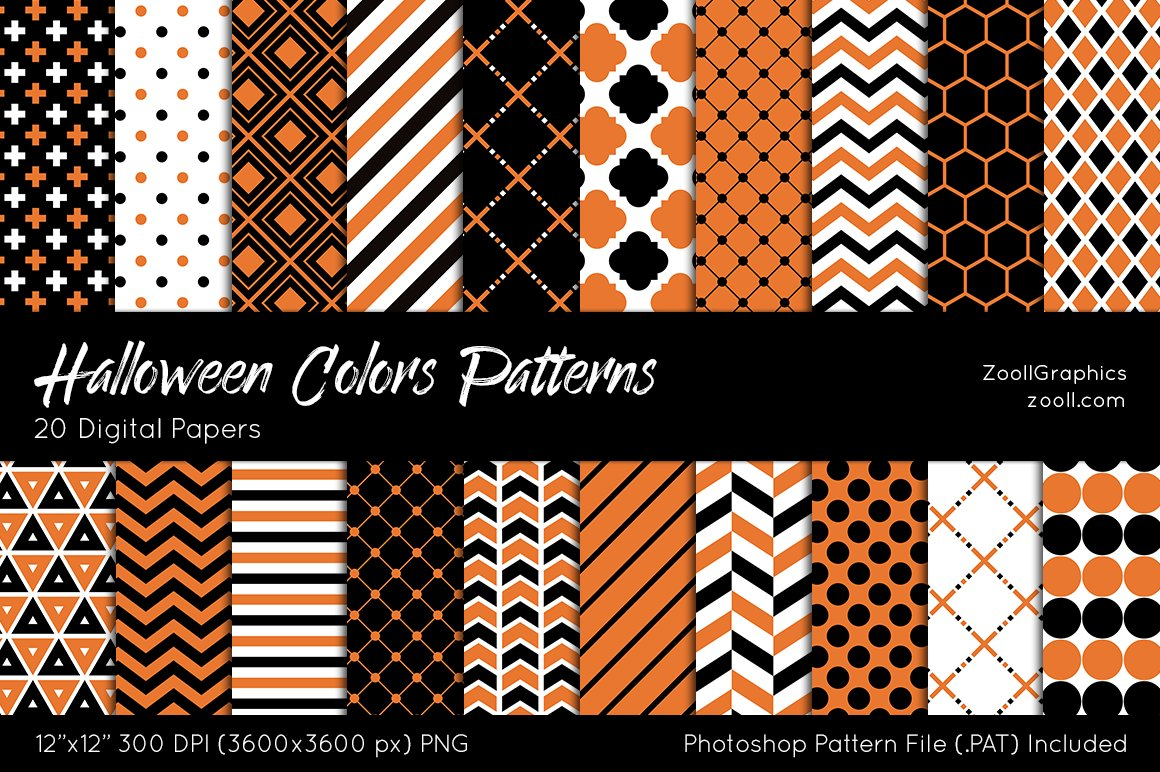 Halloween Colors Digital Papers ~ Patterns ~ Creative Market