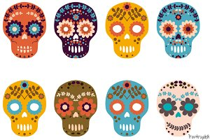Sugar skull, Day of the Dead clipart