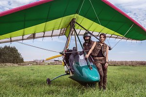 Ultralight aircraft and girl.