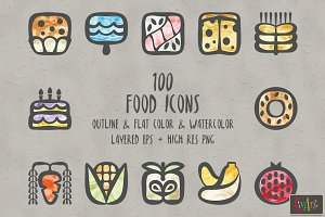 100 Vector Food Icons