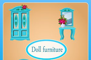 Two cards of doll furnitures