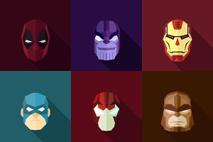 SuperHeroes Masks Flat (Set 21)