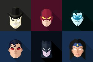 SuperHeroes Masks Flat (Set 22)