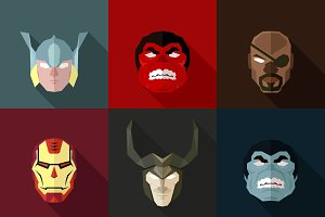 SuperHeroes Masks Flat (Set 24)