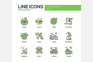 Insurance - Line Icons Set