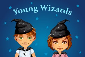Cartoon boy and girl wizard