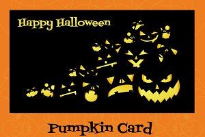Halloween card with pumpkins
