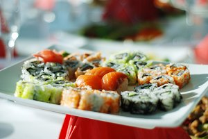 Food susi in restaurant