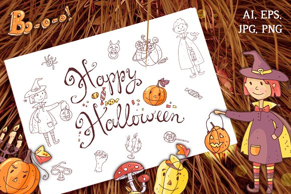 Cute Halloween. Patterns, cards. - Illustrations