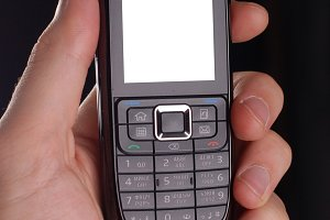 male hand holding mobile telephon