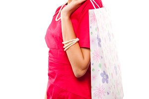 woman with color packages