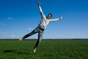 happy man jumping