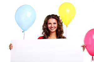 woman with colored balloons