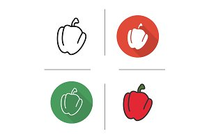 Red bell pepper. 4 icons. Vector