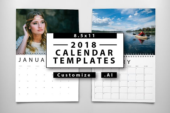 Calendar Design In Photo : Calendar templates creative market