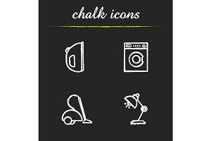 Household appliances 4 icons. Vector