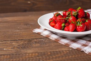 strawberries on the old rusric table