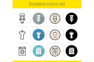 Bathroom interior. 12 icons. Vector
