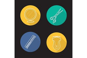 Barbershop tools. 4 icons. Vector