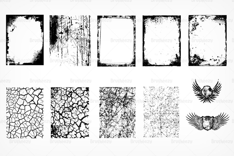 Grunge Textures & Wings Brushes