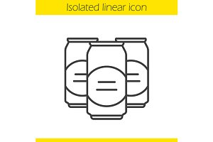 Beer cans linear icon. Vector