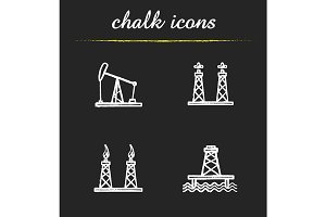 Oil platforms. 4 icons. Vector