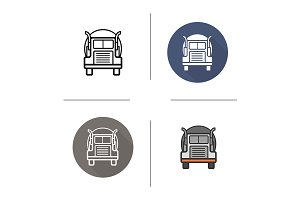 Oil tanker truck. 4 icons. Vector